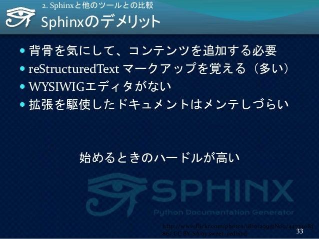 Sphinxのデメリット  背骨を気にして、コンテンツを追加する必要  reStructuredText マークアップを覚える(多い)  WYSIWIGエディタがない  拡張を駆使したドキュメントはメンテしづらい 始めるときのハードルが...