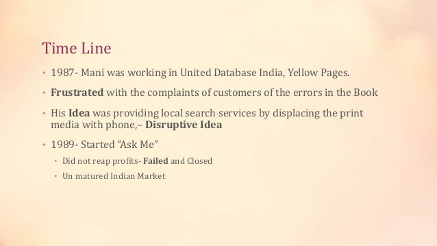 Time Line • 1987- Mani was working in United Database India, Yellow Pages. • Frustrated with the complaints of customers o...