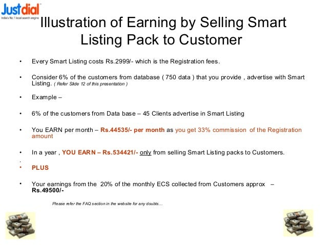 Illustration of Earning by Selling Smart Listing Pack to Customer • Every Smart Listing costs Rs.2999/- which is the Regis...