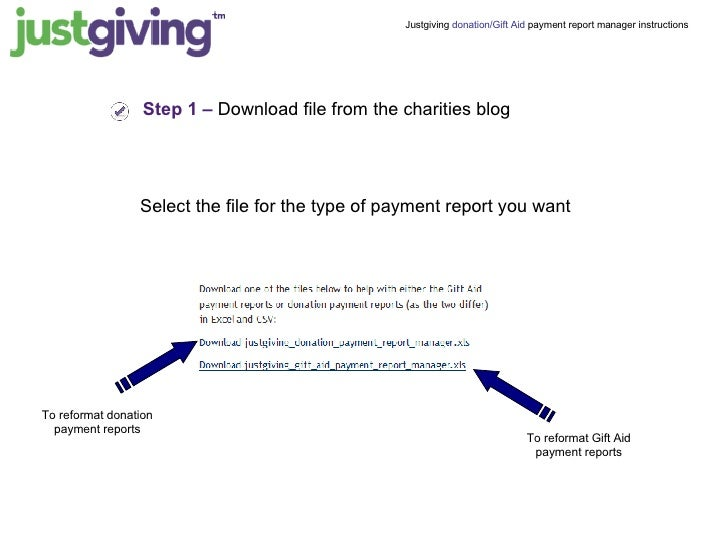 Justgiving payment report manager instructions donationgift aid payment report manager instructions 2 step 1 download file from the charities negle Image collections