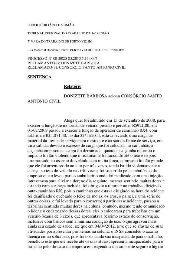 PODER JUDICIÁRIO DA UNIÃO TRIBUNAL REGIONAL DO TRABALHO DA 14ª REGIÃO 7ª VARA DO TRABALHO DE PORTO VELHO Rua Marechal Deod...
