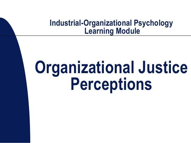 Industrial-Organizational Psychology Learning Module Organizational Justice Perceptions