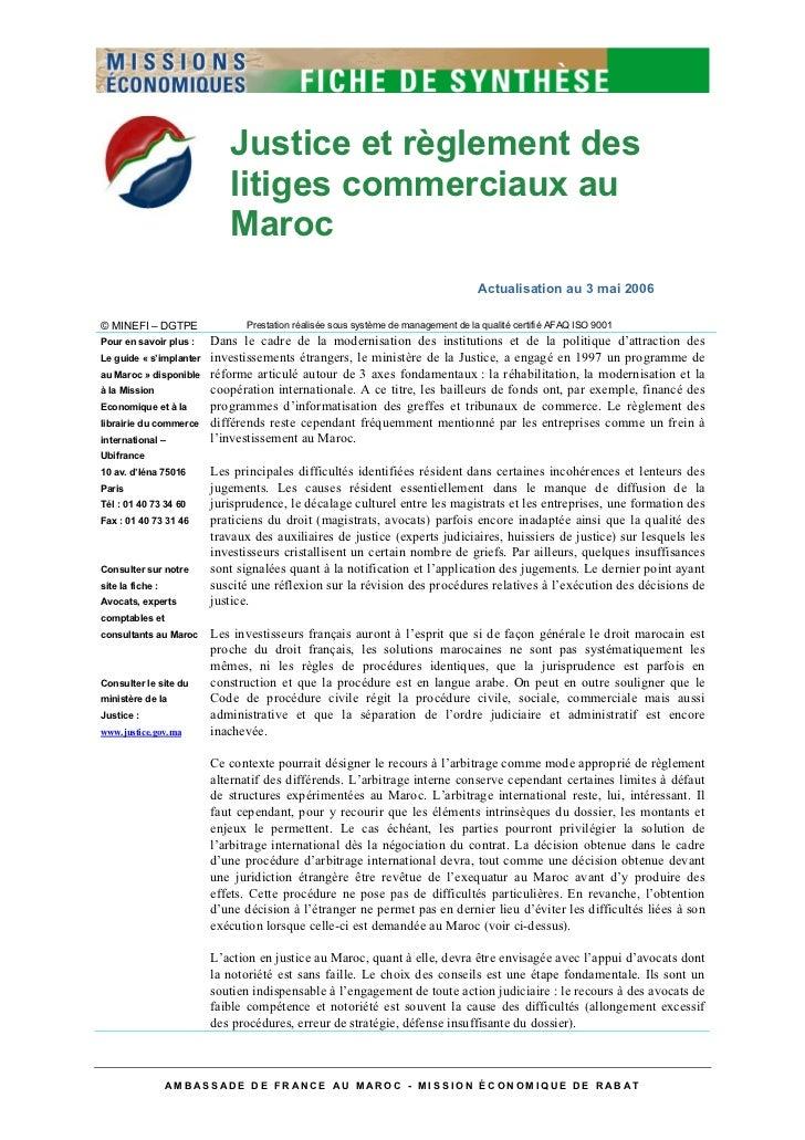 Justice et règlement des                            litiges commerciaux au                            Maroc               ...
