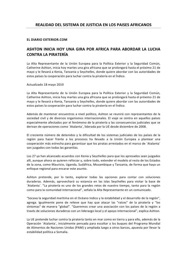 REALIDAD DEL SISTEMA DE JUSTICIA EN LOS PAISES AFRICANOS   EL DIARIO EXTERIOR.COM  ASHTON INICIA HOY UNA GIRA POR AFRICA P...
