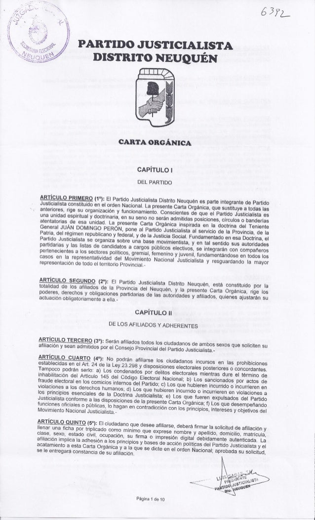 Partido Justicialista (PJ) de Neuquén - Carta Orgánica