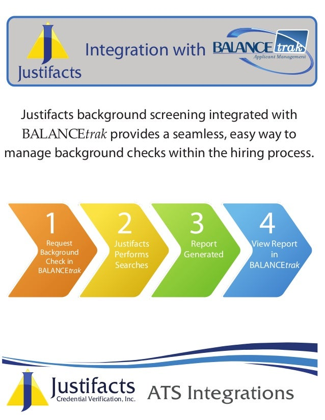 JustifactsCredential Verification, Inc. ATS Integrations Justifacts Justifacts background screening integrated with BALANC...