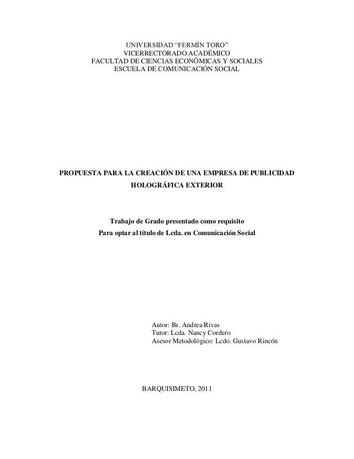 """UNIVERSIDAD """"FERMÍN TORO""""              VICERRECTORADO ACADÉMICO       FACULTAD DE CIENCIAS ECONÓMICAS Y SOCIALES          ..."""