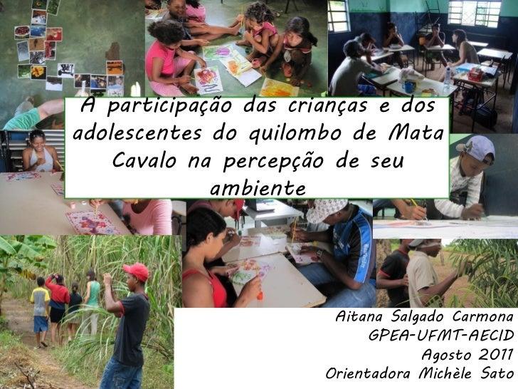 A participação das crianças e dosadolescentes do quilombo de Mata    Cavalo na percepção de seu             ambiente      ...