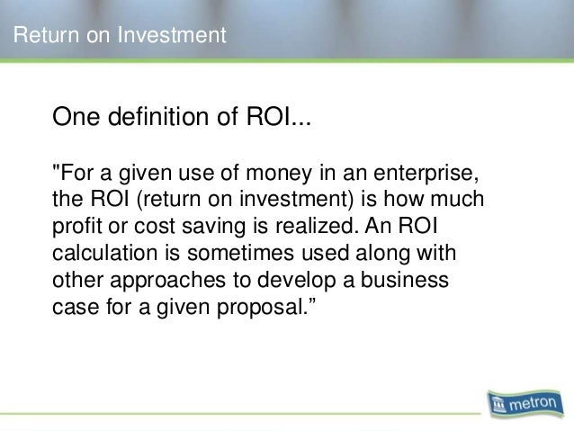 Definition Return On Investment
