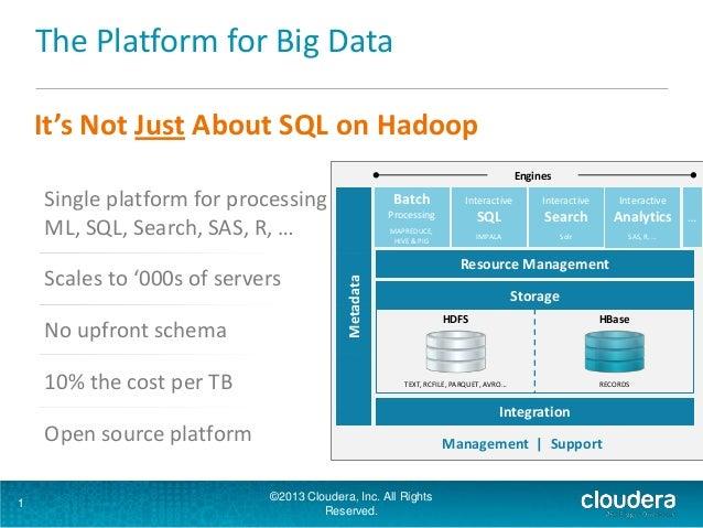 The Platform for Big Data 1 It's Not Just About SQL on Hadoop Storage Integration Resource Management Metadata Batch Proce...