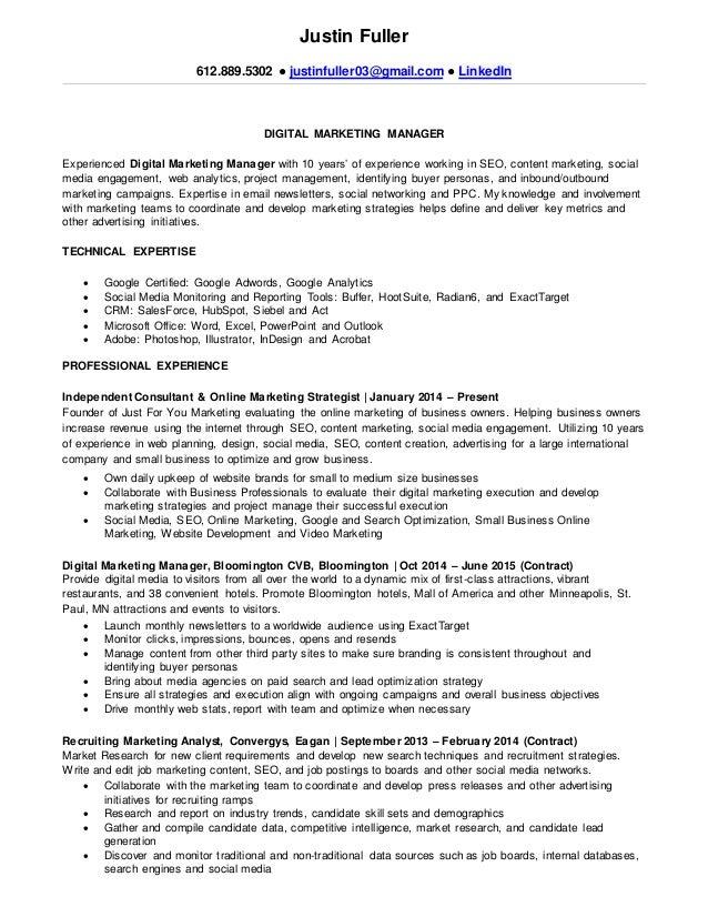 Justin Fuller 612.889.5302 ○ Justinfuller03@gmail.com ○ LinkedIn DIGITAL MARKETING  MANAGER ...  Resume For Marketing Manager