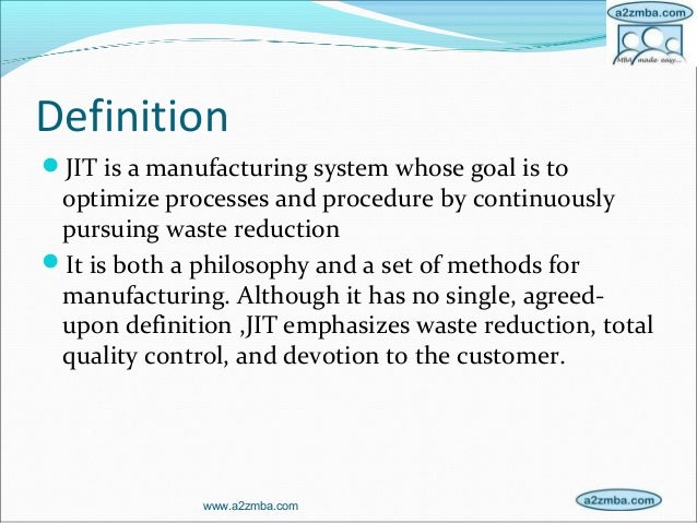 just in time systems essay Just-in-time (jit) manufacturing just-in-time manufacturing, or jit, is a management philosophy aimed at eliminating manufacturing wastes by producing only the right amount and combination of parts at the right place at the right timethis is based on the fact that wastes result from any activity that adds cost without adding value to the.