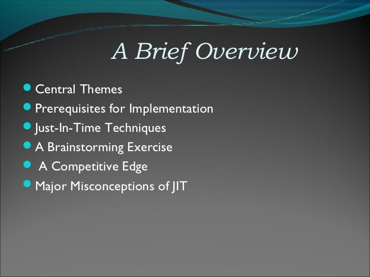 jit manufacturing technique thesis The prime purpose of this paper is to offer a framework for sustainable lean implementation techniques to make manufacturing jit manufacturing.