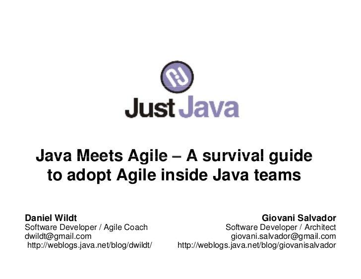 Java Meets Agile – A survival guide     to adopt Agile inside Java teams  Daniel Wildt                                    ...