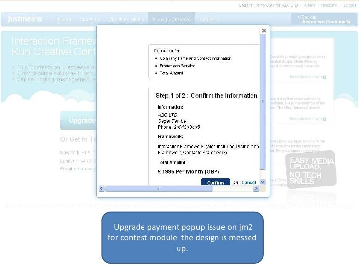 Upgrade payment popup issue on jm2 for contest module  the design is messed up. <br />