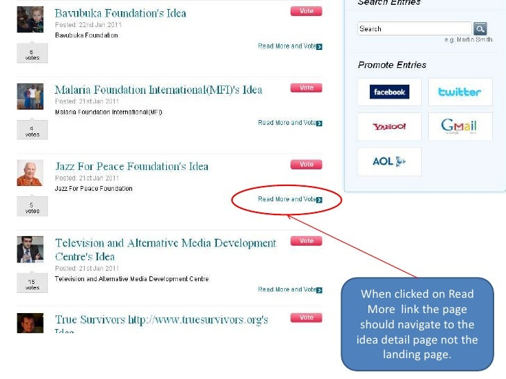 When clicked on Read More  link the page should navigate to the idea detail page not the landing page.<br />