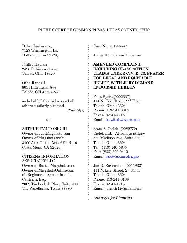 amended lawsuit against justmugshotscom mugshotsonlinecom and bust