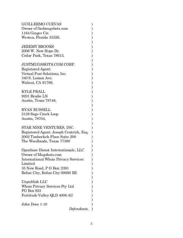 amended lawsuit against justmugshotscom mugshotsonlinecom and bustedmugshotscom