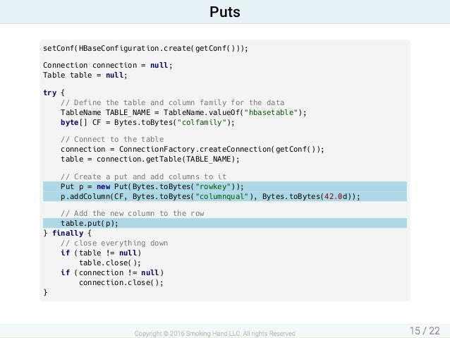 setConf(HBaseConfiguration.create(getConf())); Connectionconnection=null; Tabletable=null; try{ //Definethet...
