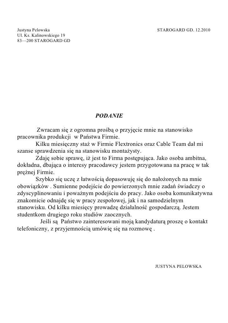 Justyna Pelowska                                       STAROGARD GD. 12.2010 Ul. Ks. Kalinowskiego 19 83—200 STAROGARD GD ...