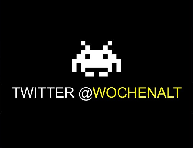 Image and headline on top of the slide TWITTER @WOCHENALT