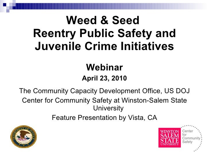 Weed & Seed  Reentry Public Safety and Juvenile Crime Initiatives <ul><li>Webinar </li></ul><ul><li>April 23, 2010 </li></...