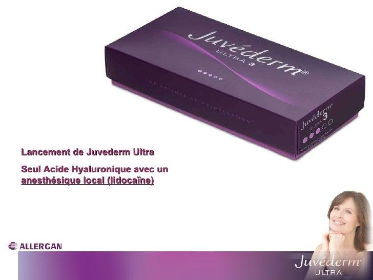 2000 Lancement de Juvederm Ultra Seul Acide Hyaluronique avec un  anesthésique local (lidocaïne)