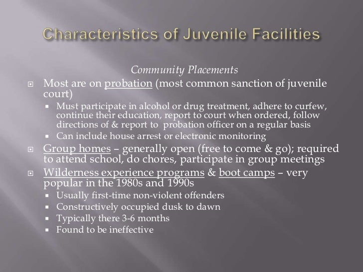 one program in a juvenile halfway house detention center or juvenile prison Juvenile theft and burglary laws   weekend detention program, or full-time detention in a juvenile detention center or juvenile home.