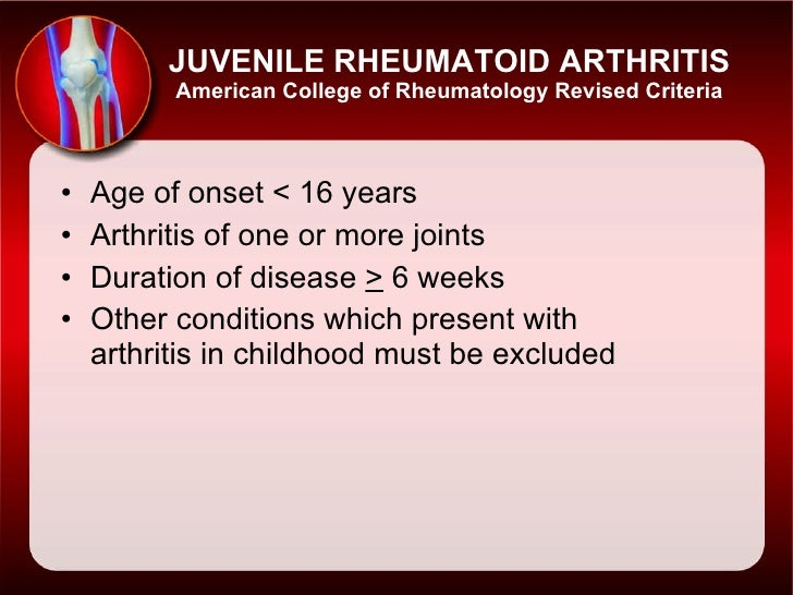 a study of juvenile rheumatoid arthritis jra Juvenile rheumatoid arthritis (jra) children can develop many of the same types of arthritis that adults do around 300,000 minors have been diagnosed with an.