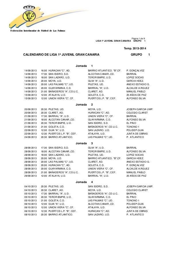 Página 1 de 9 LIGA 1ª JUVENIL GRAN CANARIA GRUPO 1 Temp. 2013-2014 CALENDARIO DE LIGA 1ª JUVENIL GRAN CANARIA GRUPO 1 Jorn...