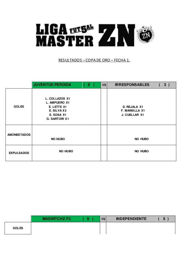 RESULTADOS – COPA DE ORO – FECHA 1. MASWITCHZ FC ( 9 ) VS INDEPENDIENTE ( 5 ) GOLES JUVENTUD PERDIDA ( 8 ) VS IRRESPONSABL...