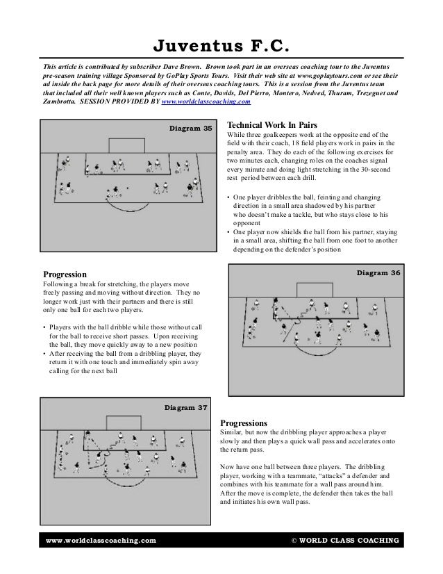 www.worldclasscoaching.com © WORLD CLASS COACHING Juventus F.C. Progression Following a break for stretching, the players ...