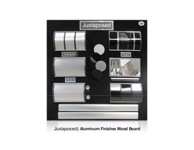 Juxtaposed  Aluminum Finishes Mood Board