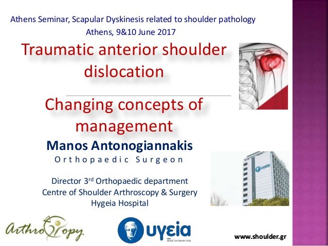 www.shoulder.grwww.shoulder.gr Traumatic anterior shoulder dislocation Changing concepts of management Manos Antonogiannak...