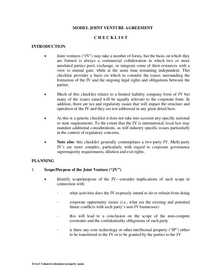 Joint Venture Agreement Simple Joint Venture Agreement Template