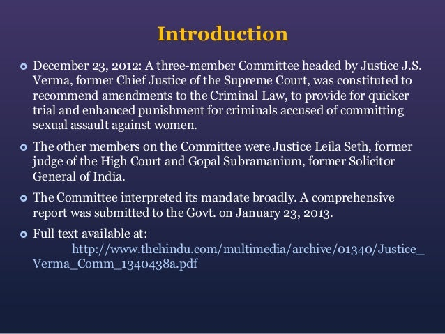 Justice Verma Committee Report Summary