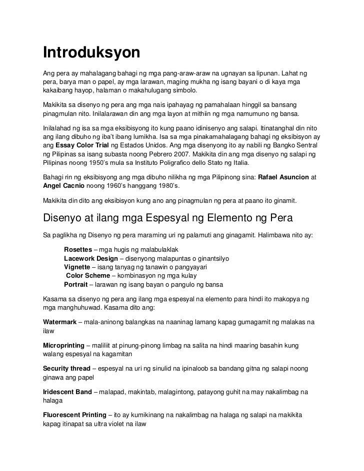 IntroduksyonAng pera ay mahalagang bahagi ng mga pang-araw-araw na ugnayan sa lipunan. Lahat ngpera, barya man o papel, ay...