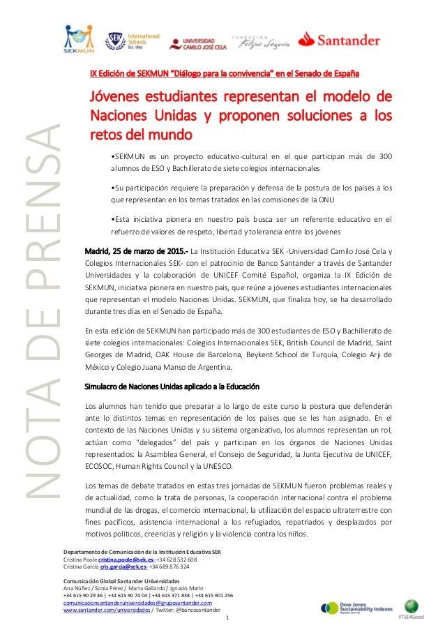 """IX Edición de SEKMUN """"Diálogo para la convivencia"""" en el Senado de España Jóvenes estudiantes representan el modelo de Nac..."""