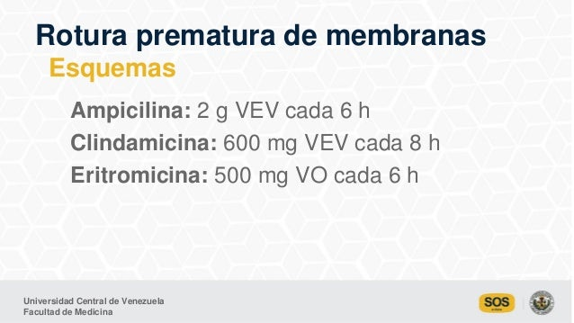 Universidad Central de Venezuela Facultad de Medicina Ampicilina: 2 g VEV cada 6 h Clindamicina: 600 mg VEV cada 8 h Eritr...
