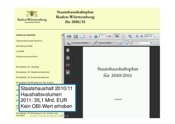 Offene Haushaltsdaten – Baden-Württemberg     Staatshaushalt 2010/11     Haushaltsvolumen     2011: 35,1 Mrd. EUR     Kein...