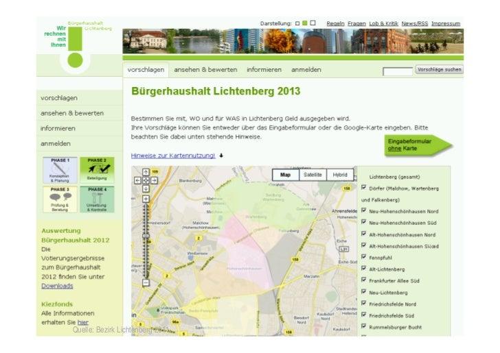Bürgerhaushalt Lichtenberg15    Quelle: Bezirk Lichtenberg 2011.   © TICC   Prof. Dr. Jörn von Lucke   2012-03