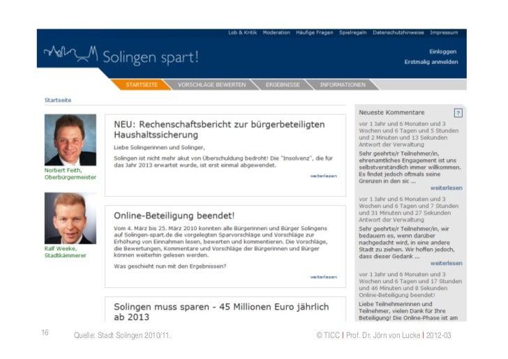 16   Quelle: Stadt Solingen 2010/11.   © TICC   Prof. Dr. Jörn von Lucke   2012-03