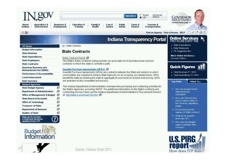 Offenlegung der Verträge27               Quelle: Indiana State 2011.   © TICC   Prof. Dr. Jörn von Lucke   2012-03