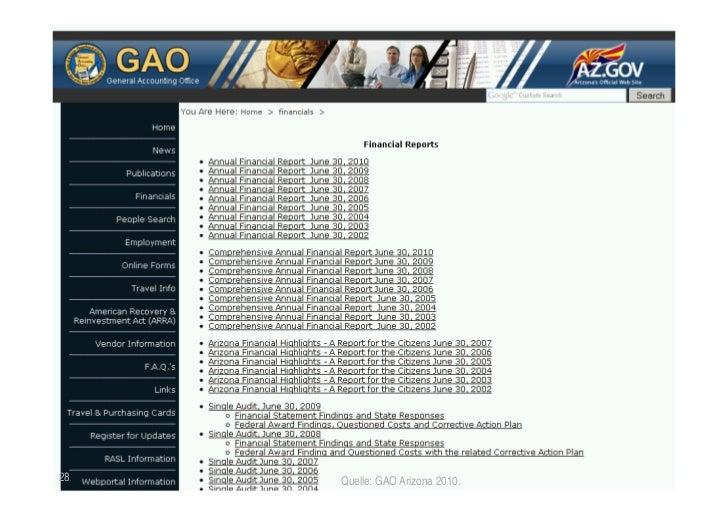 USA/Arizona: Offene Rechenschaftslegung28                      Quelle: GAO Arizona 2010. TICC   Prof. Dr. Jörn von Lucke  ...