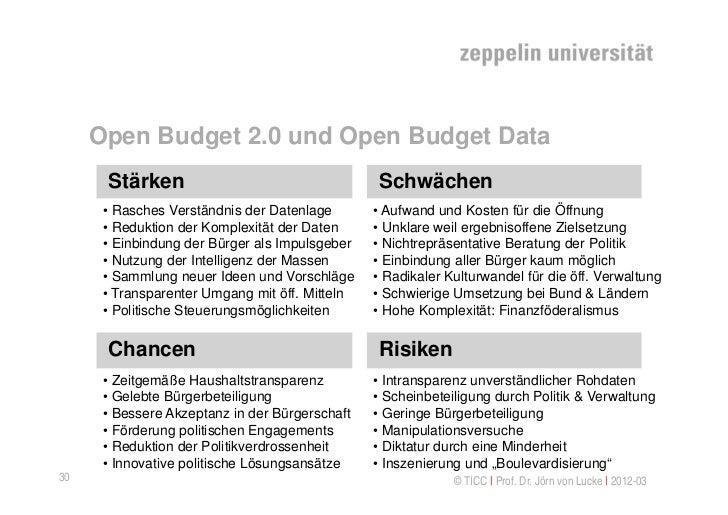 Open Budget 2.0 und Open Budget Data      Stärken                                   Schwächen      • Rasches Verständnis d...