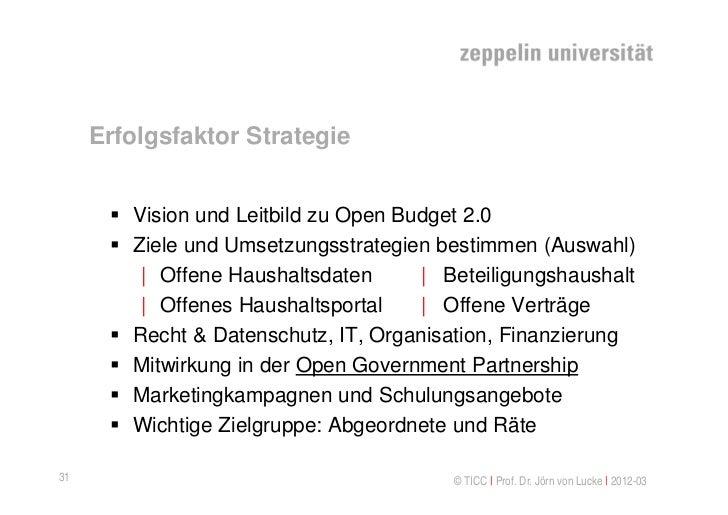 Erfolgsfaktor Strategie       Vision und Leitbild zu Open Budget 2.0       Ziele und Umsetzungsstrategien bestimmen (Aus...