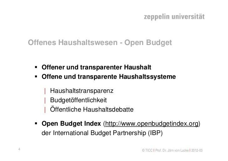 Offenes Haushaltswesen - Open Budget      Offener und transparenter Haushalt      Offene und transparente Haushaltssyste...