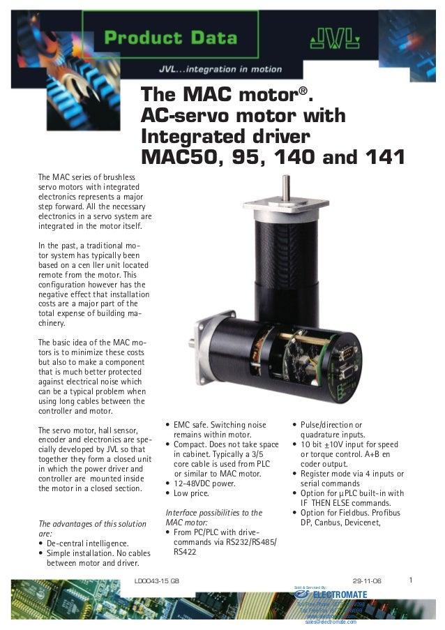 Jvl ac servo motor with integrated driver mac50 95 140 for Jvl integrated servo motor