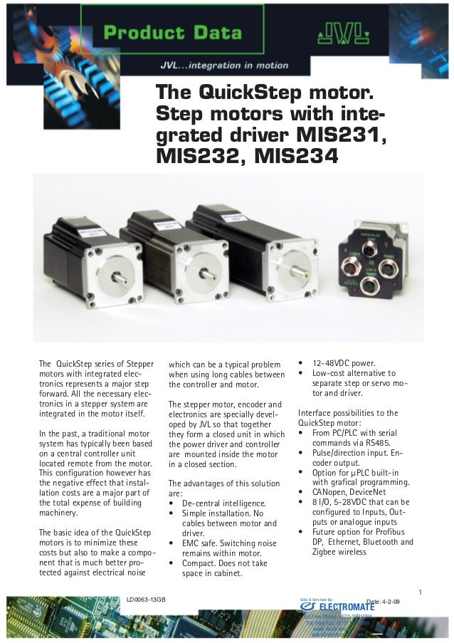 JVL QuickStep Motor with Integrated Driver MIS231,MIS232 and MIS234