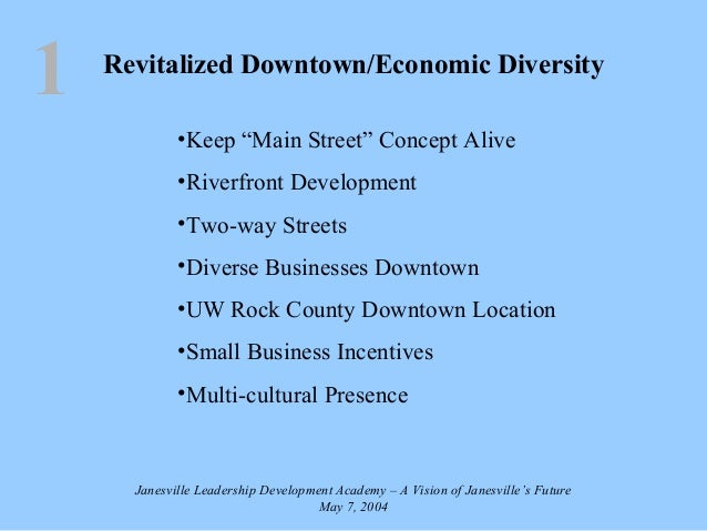 "Revitalized Downtown/Economic Diversity •Keep ""Main Street"" Concept Alive •Riverfront Development •Two-way Streets •Divers..."
